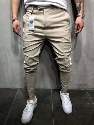 Beige Side Striped Casual Jogger Pant A110 Streetwear Jogger Pants - Sneakerjeans