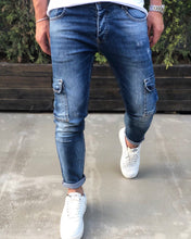 Load image into Gallery viewer, Blue Cargo Pocket Skinny Fit Denim B194 Streetwear Cargo Jeans