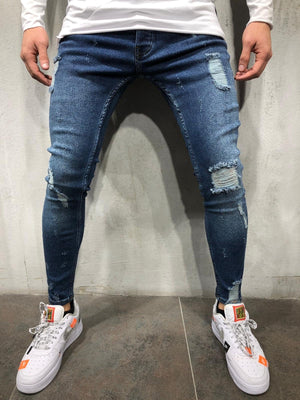 Blue Ankle Ripped Skinny Fit Jeans A223 Streetwear Mens Jeans - Sneakerjeans