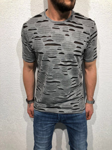Gray Shredded Oversized T-Shirt B51 Streetwear T-Shirts