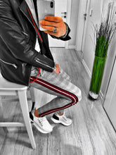 Load image into Gallery viewer, Gray Checkered Side 3 Colours Striped Casual Jogger Pant S104 Streetwear Jogger Pants