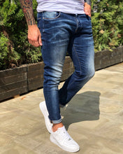 Load image into Gallery viewer, Blue Washed Skinny Fit Denim B230 Streetwear Jeans