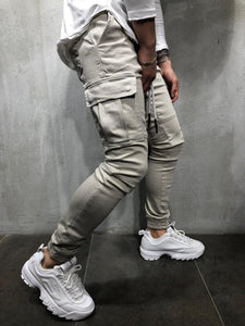 Beige Cargo Pocket Ultra Skinny Fit Jogger Denim 2Y-14758 Streetwear Jeans