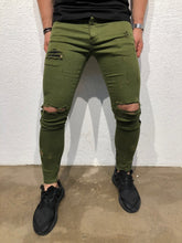Load image into Gallery viewer, Green Striped Skinny Fit Denim B176 Streetwear Jeans