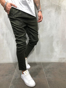 Khaki Plaid Checkered Casual Pant 3978 Streetwear Casual Pants