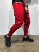 Load image into Gallery viewer, Red Knee Side Pocket Zipper Jogger Pant B173 Streetwear Jogger Pants