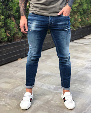 Blue Distressed Skinny Fit Denim B238 Streetwear Jeans - Sneakerjeans