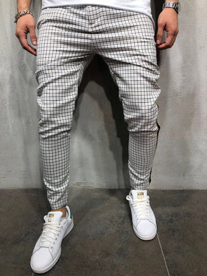 Side Striped Checkered Casual Jogger Pant A147 Streetwear Jogger Pants - Sneakerjeans
