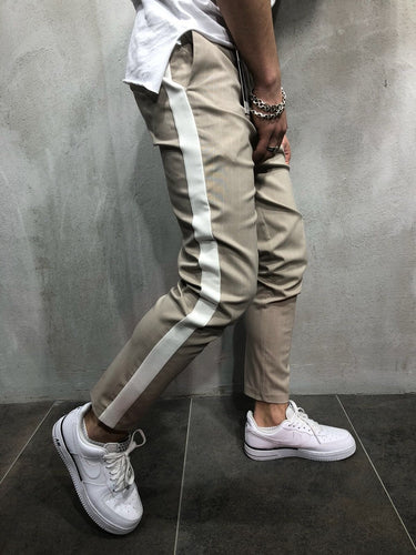 Beige Side Striped Casual Jogger Pant A110 Streetwear Jogger Pants