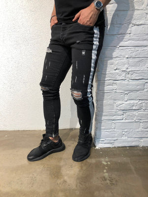 Black Striped Ankle Zipper Super Skinny Fit Denim B129 Streetwear Denim Jeans - Sneakerjeans