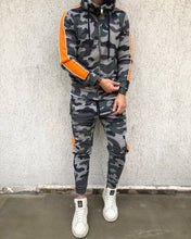 Load image into Gallery viewer, Gray Camouflage Orange Striped Tracksuit Gymwear Set B289 Streetwear Tracksuit Jogger Set - Sneakerjeans