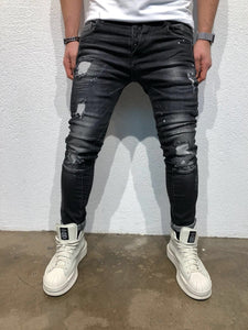 Black Destroyed Slim Fit Denim B59 Streetwear Denim Jeans