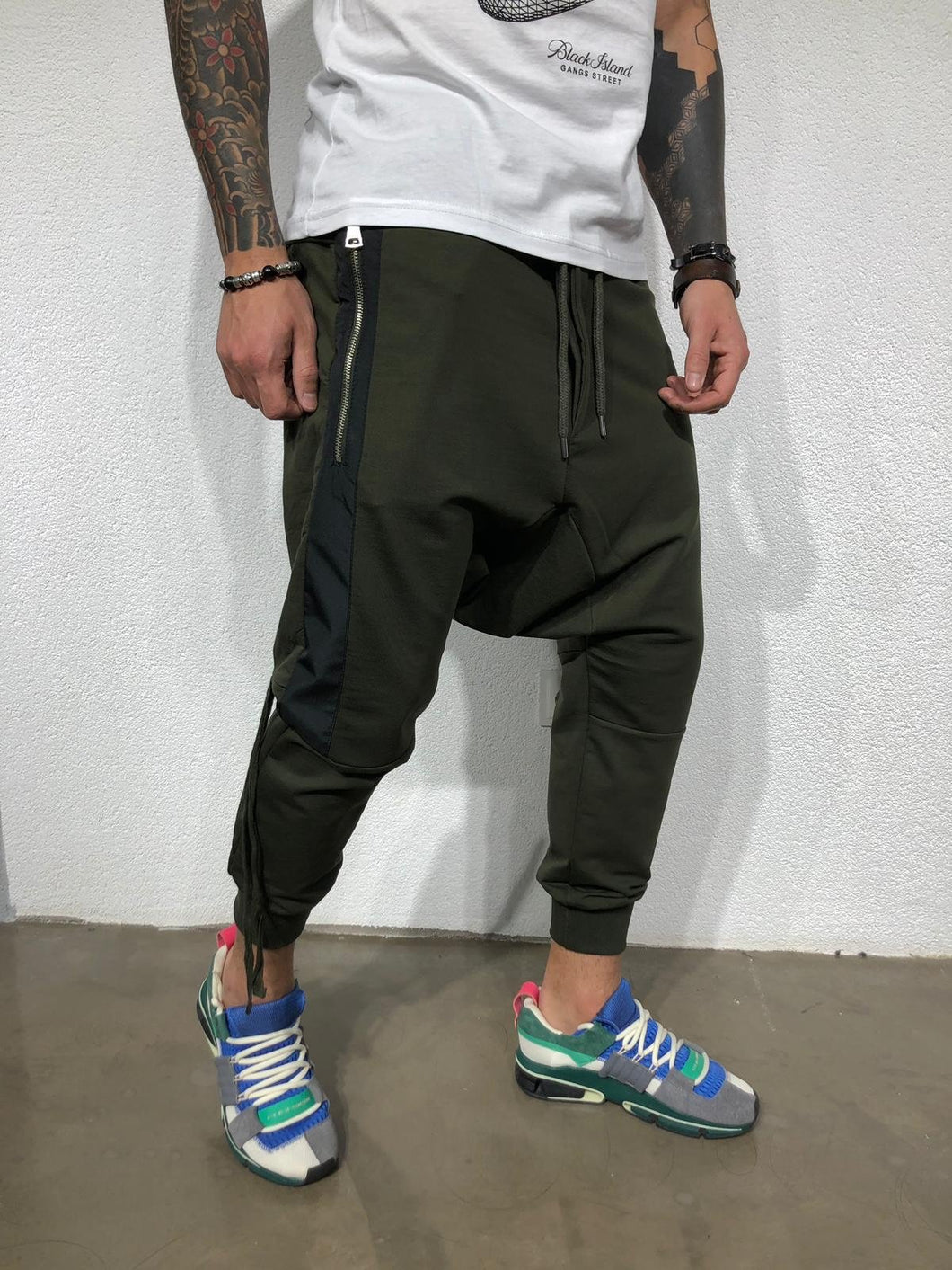 Khaki Side Striped Baggy Jogger Pant BL178 Streetwear Jogger Pants