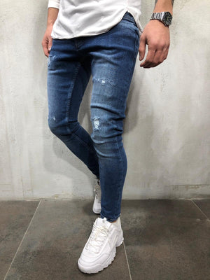 Blue Distressed Skinny Fit Denim A243 Streetwear Jeans - Sneakerjeans