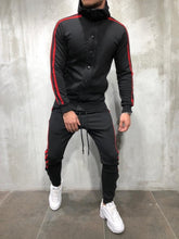 Load image into Gallery viewer, Black Red Collar Striped Tracksuit Gymwear Set A204 Streetwear Tracksuit Jogger Set