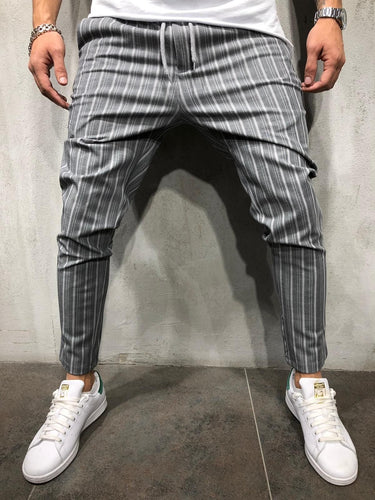 Gray Striped Casual Jogger Pant A211 Streetwear Casual Jogger Pants