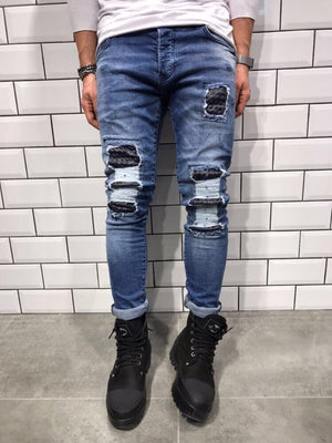 Rubber Patch Slim Fit Denim B8 Streetwear Denim Jeans - Sneakerjeans