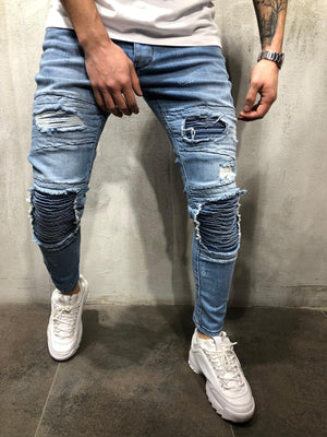 Blue Patched Ultra Skinny Fit Jeans AY363 Streetwear Mens Jeans - Sneakerjeans
