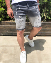 Load image into Gallery viewer, Gray Slim Fit Denim Short B192 Streetwear Denim Shorts