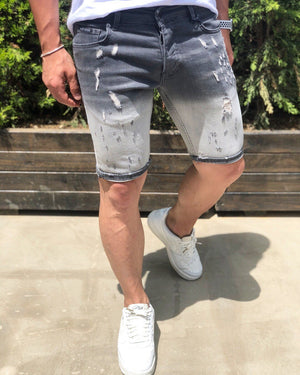 Gray Slim Fit Denim Short B192 Streetwear Denim Shorts - Sneakerjeans