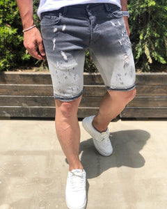 Gray Slim Fit Denim Short B192 Streetwear Denim Shorts