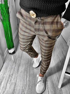 Beige Checkered Casual Jogger Pant S148 Streetwear Casual Jogger Pants - Sneakerjeans