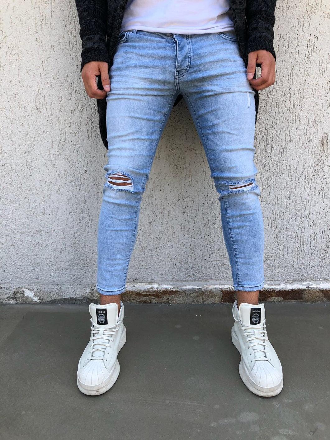 Light Blue Washed Distressed Skinny Fit Denim B266 Streetwear Jeans