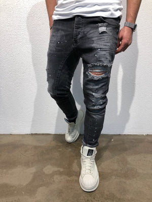 Sneakerjeans Black Skinny Ripped Jeans B74 - Sneakerjeans