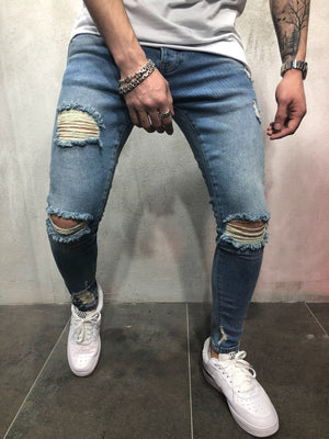 Blue Destroyed Slim Fit Denim A81 Streetwear Denim Jeans - Sneakerjeans