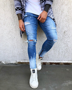 Two Colours Distressed Skinny Fit Denim B263 Streetwear Jeans