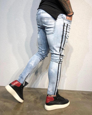 Light Blue Ankle Zip Side Striped Distressed Ultra Skinny Fit Denim B335 Streetwear Jeans - Sneakerjeans
