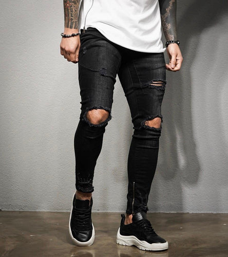 Black Washed Ripped Ankle Zip Ultra Skinny Fit Denim BL194 Streetwear Jeans