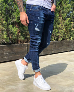 Indigo Blue Distressed Skinny Fit Denim B234 Streetwear Jeans