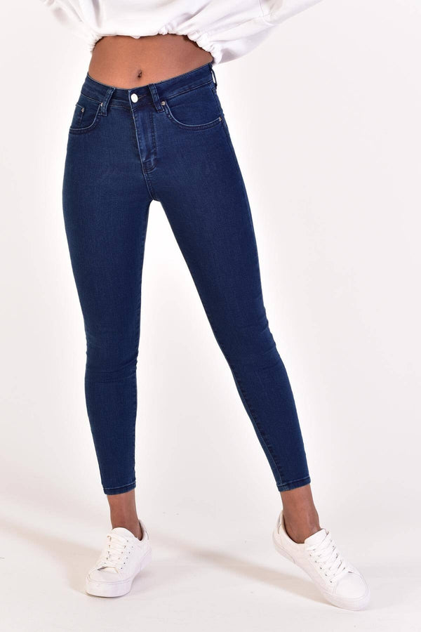 Sneakerjeans Navy High Waisted Jeans 22005