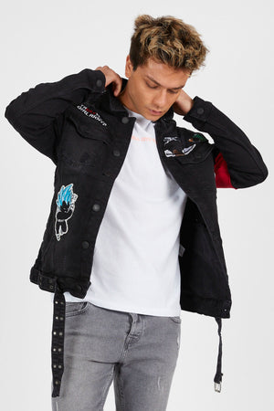 Sneakerjeans Black Patched Jeans Jacket DR20125