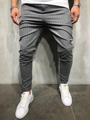 Gray Striped Ankle Casual Pant 4035 Streetwear Casual Pants - Sneakerjeans
