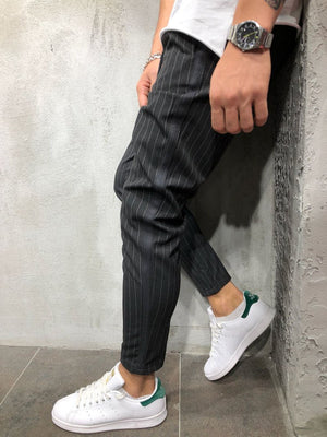 Anthracite Banding Side Striped Ankle Casual Pant 4387 Streetwear Casual Pants - Sneakerjeans