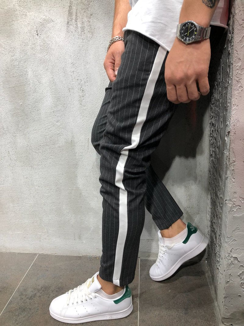 Anthracite Striped Ankle Casual Pant 4392 Streetwear Casual Pants - Sneakerjeans