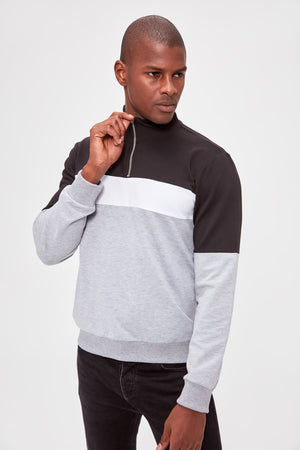 Sneakerjeans Gray Zippered Mens Sweater TM129 - Sneakerjeans