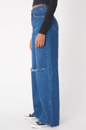 Sneakerjeans Blue Ripped Flared Jeans PN1102