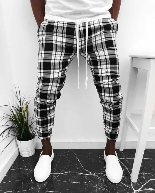 Black & White & Gray Banding Checkered Jogger Pant KB124 Streetwear Mens Jogger Pants - Sneakerjeans