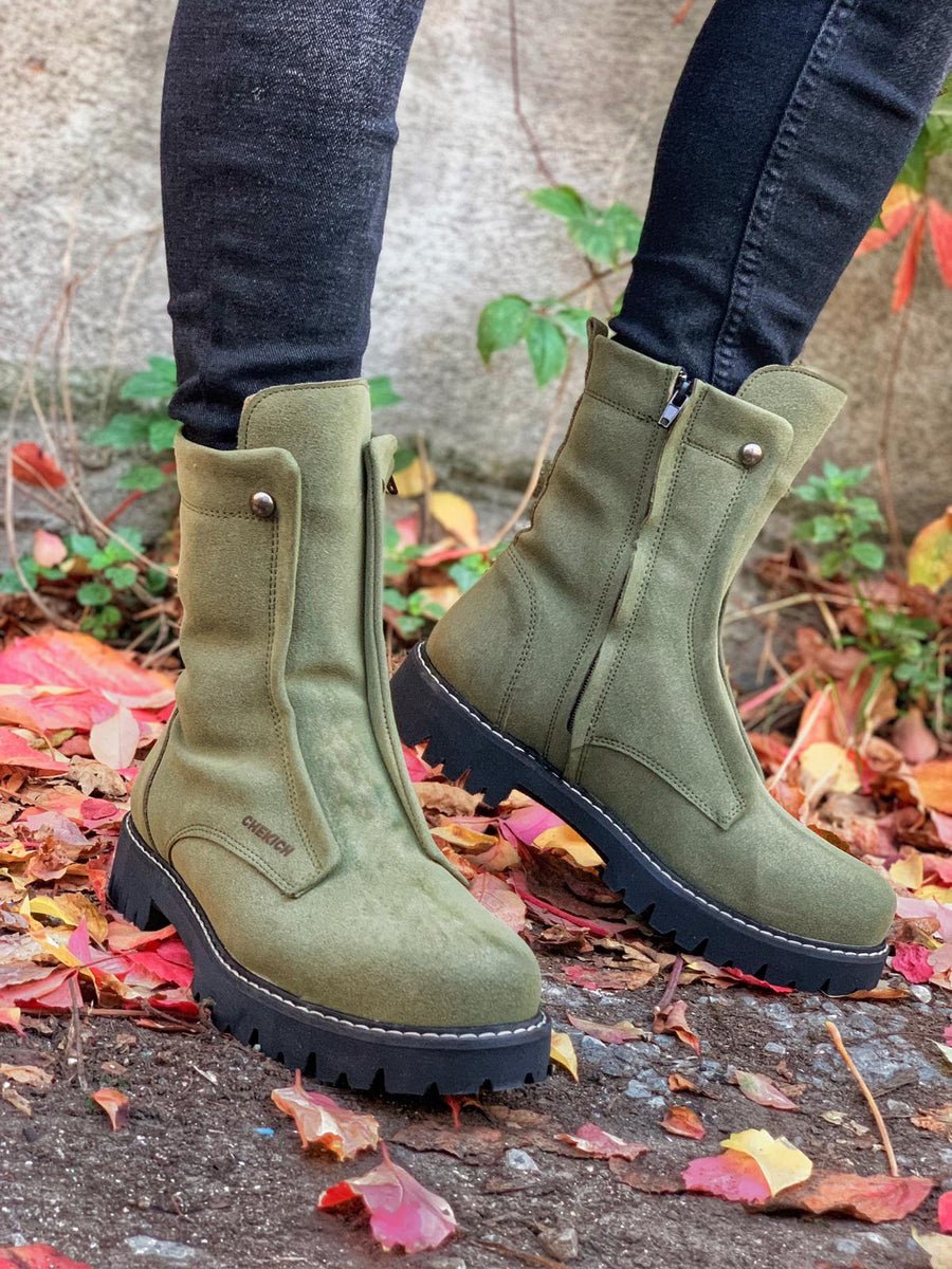 Sneakerjeans Khaki Suede Military Boots CH027