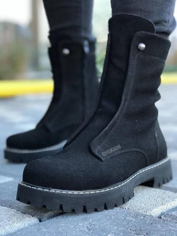 Sneakerjeans Black Suede Military Boots CH027