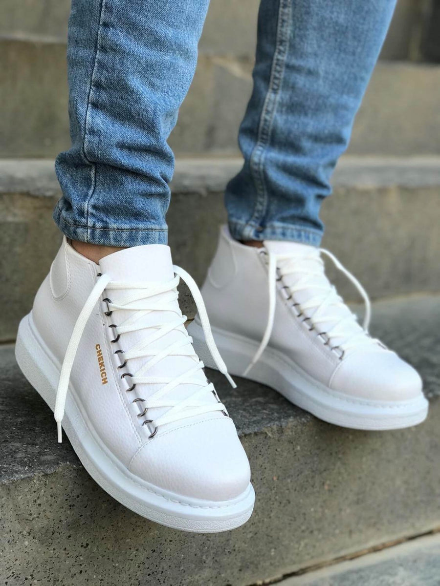 Tripple White Mid Top Sneaker CH258