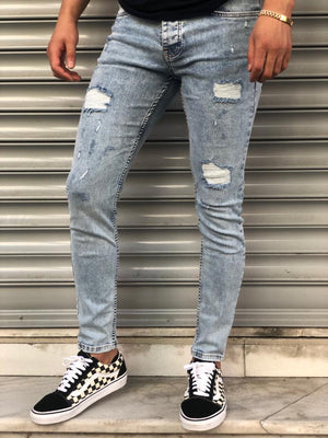 Sneakerjeans Light  Blue Skinny Ripped Jeans V07