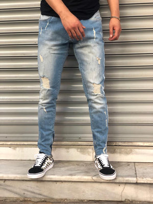 Sneakerjeans Light  Blue Skinny Ripped Jeans V08