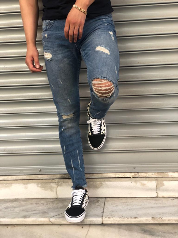Sneakerjeans Navy Blue Skinny Ripped Jeans V09