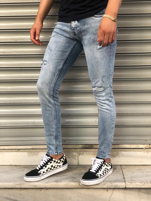 Sneakerjeans Light Blue Skinny Ripped Jeans V10