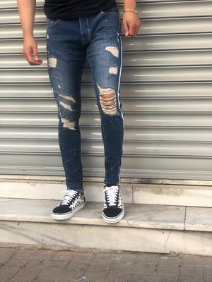Sneakerjeans Navy Blue Skinny Ripped Jeans V11