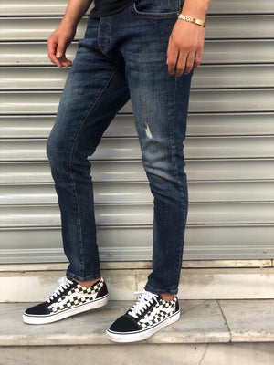Sneakerjeans Navy Blue Skinny Ripped Jeans V06